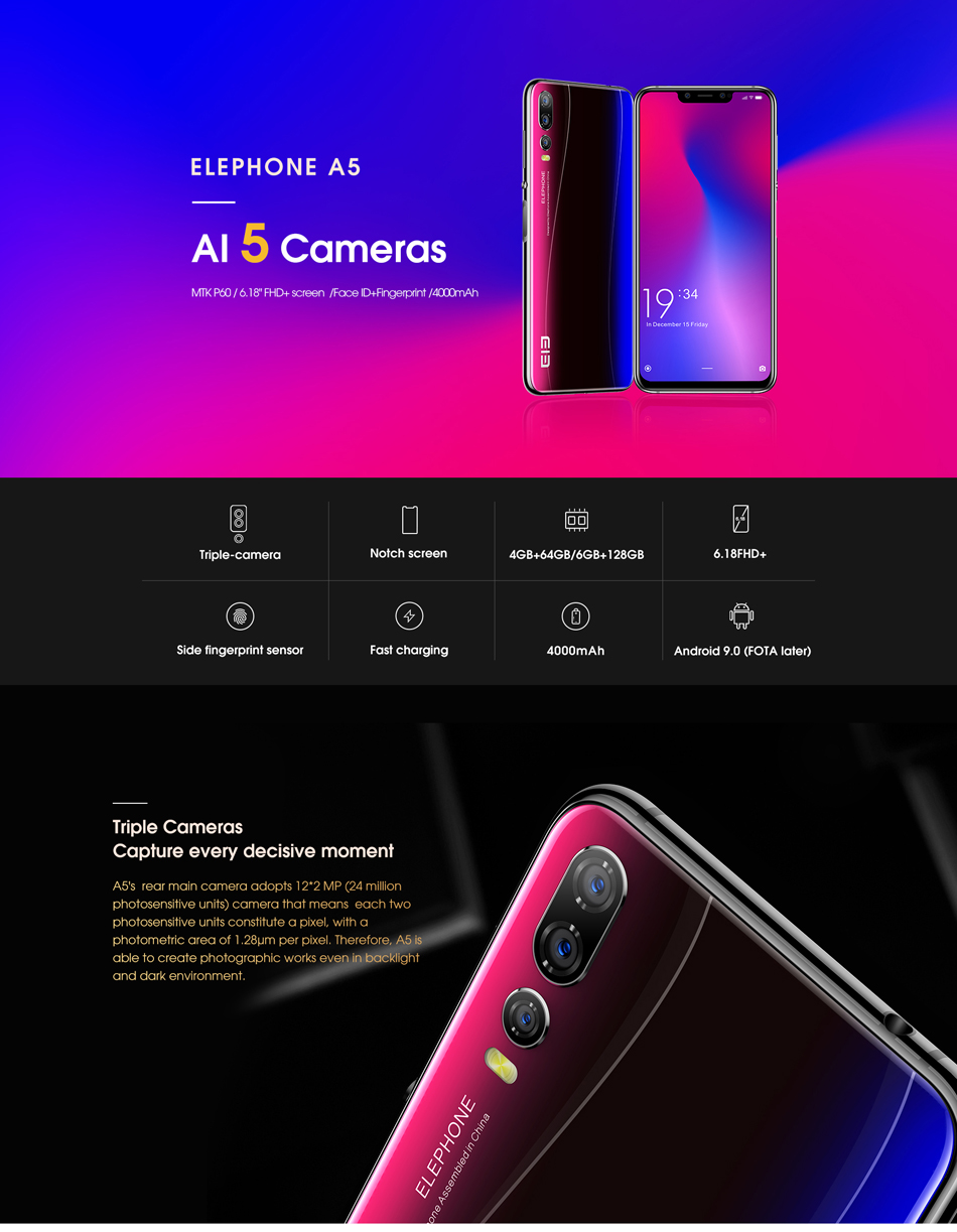 Elephone A5 Global Version 6.18 Inch FHD+ Triple Rear Camera 4GB 64GB Helio P60 4G Smartphone