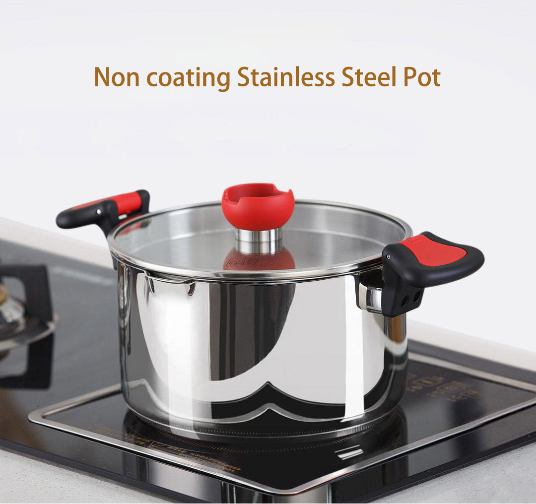 XIAOMI YIWUYISHI 5.5L Non-coating Stainless Steel Stock Pot Cooking Pot Stockpot Gas Induction Cooker Soup Pots