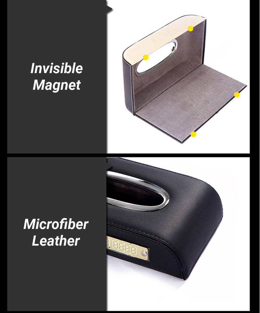 Microfiber Leather Luminous Car Temporary Parking Number Card Tissue Box Paper Holder Case