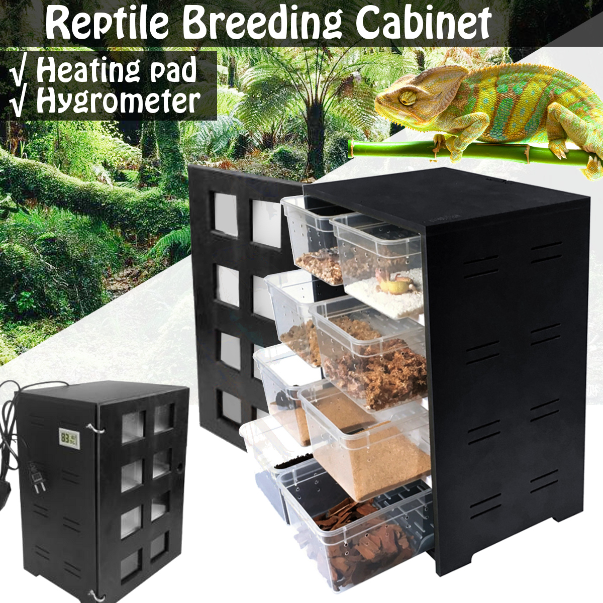 AC 220V Feeding Hatching Box Reptile Breeding Insect Spider Turtle Cage Lizard Incubator