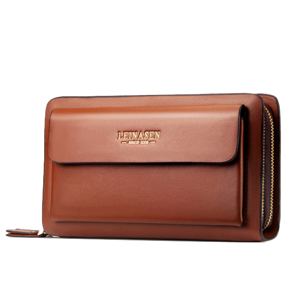 Men Business Clutch Handbag PU Leather Phone Bag
