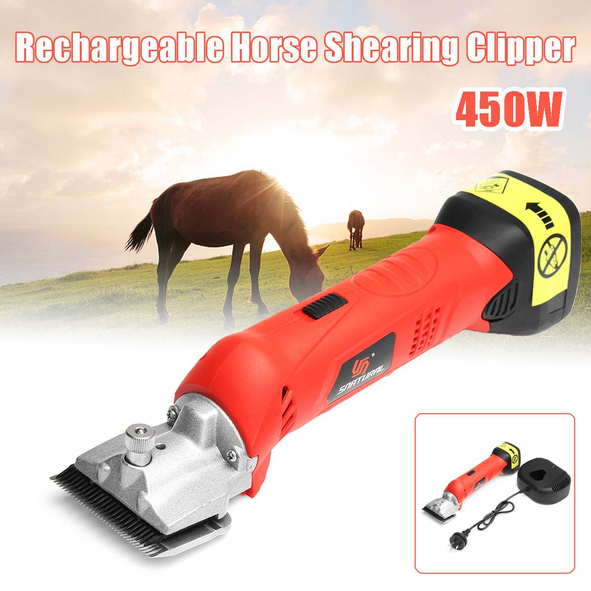 450W Rechargeable Electric Clipper Horse Hair Shearing Shears Machine Pet Animal Red