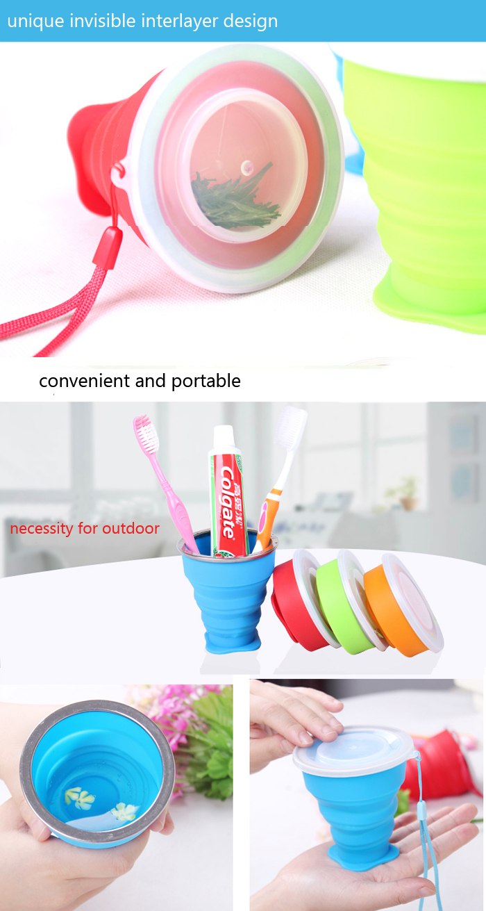 TRAVELSKY Outdoor Travel Silicone Folding Cup Sport Hiking Camping Silicone Water Cup With Strip