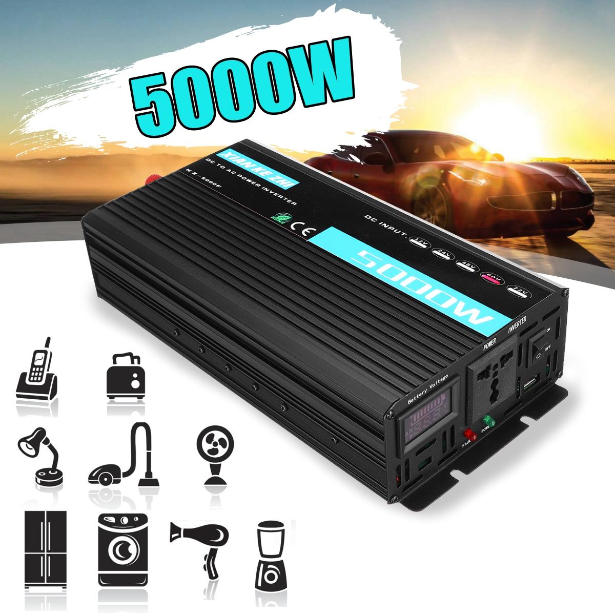 2200W Display Home Use Inverter DC 12/24/48/60/70V to AC 220V Intelligent Multiple Protection Power Converter