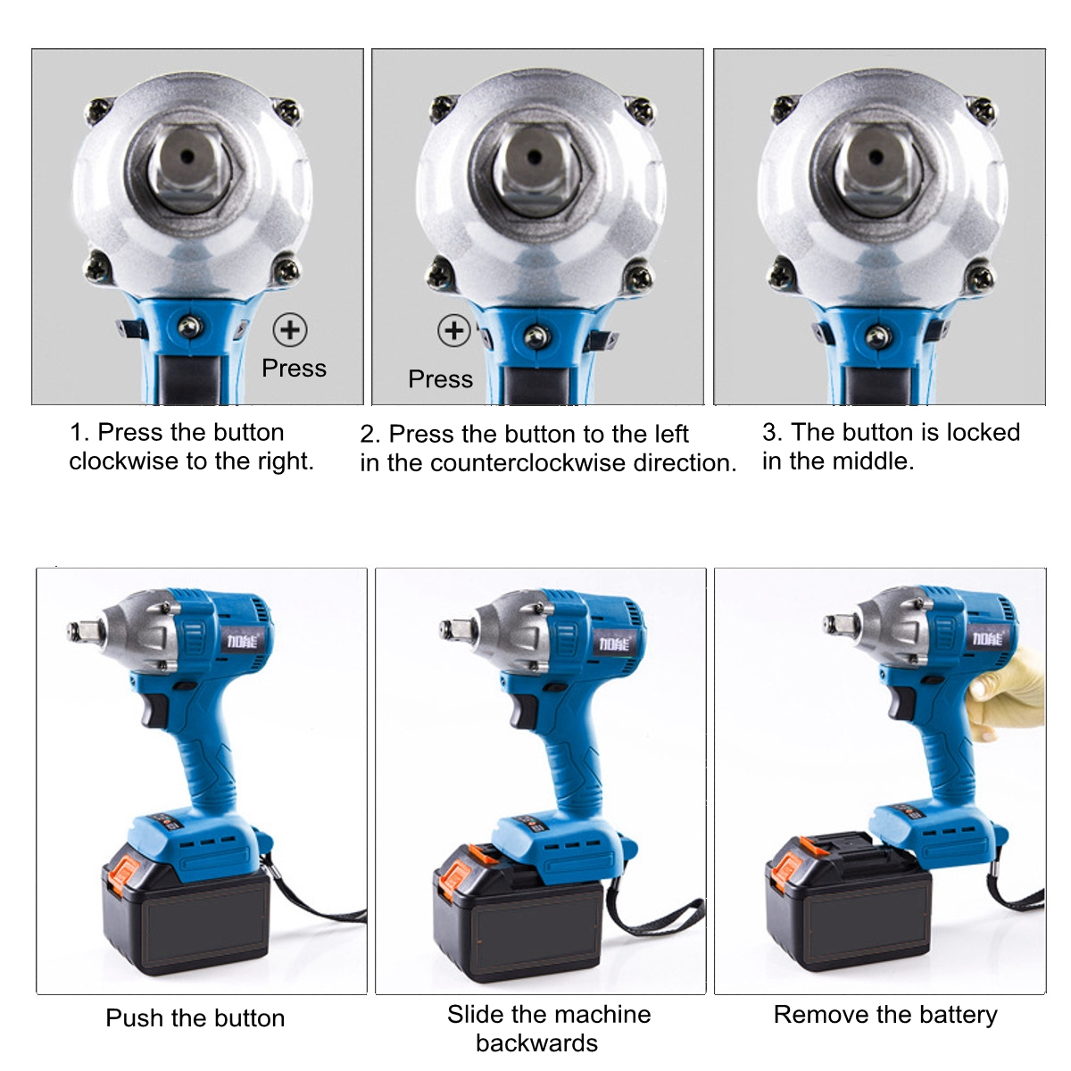 96V Cordless Electric Wrench 320NM Power Wrench 1/2'' Drive Li-ion Battery W/ LED Light