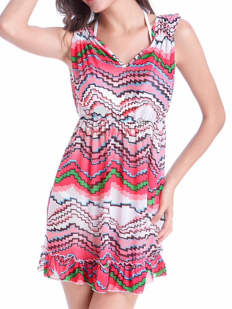 SWIMMART Stretchy Mesh Double V Printed Sleeveless Breathable Dress Cover Up