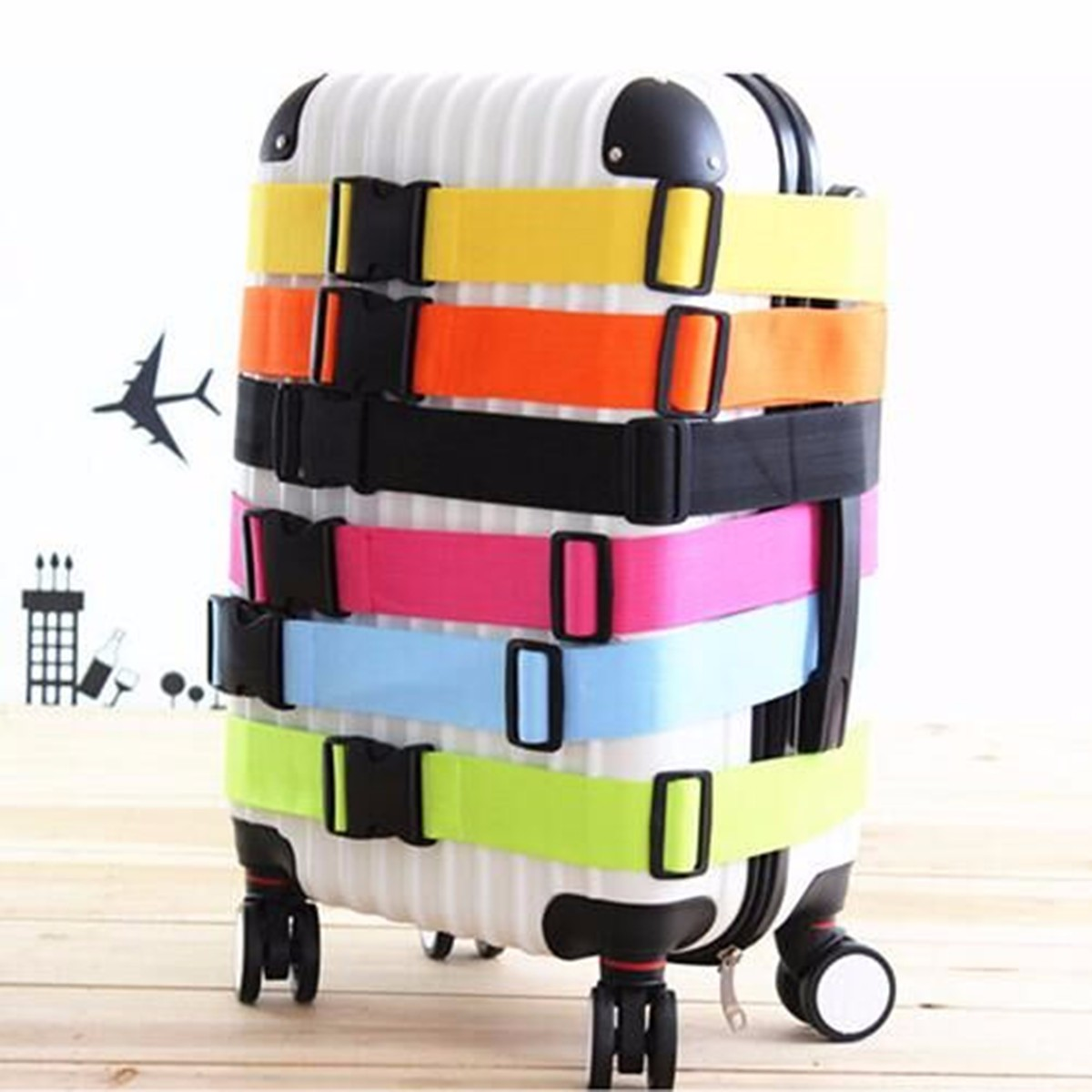 IPRee™ 185x5CM Adjustable Suitcase Luggage Strap Travel Baggage Tie Down Belt Lock