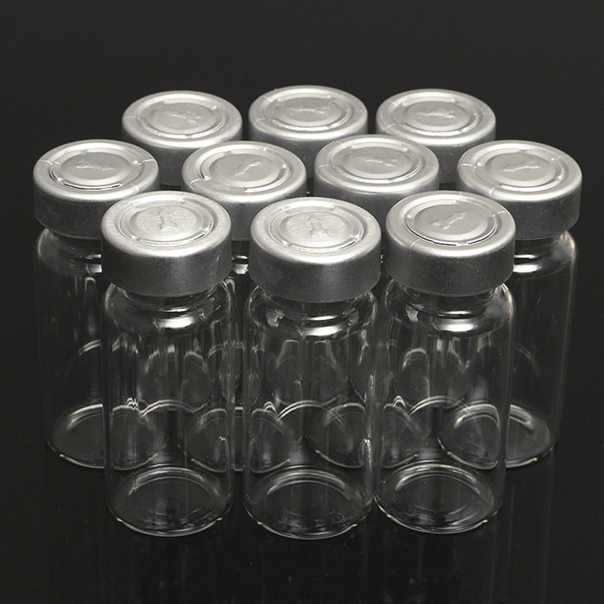 10Pcs 10ml Sample Vials Bottles w/ Stopper Caps for 20MM Hand Crimper Seal Ring Machine