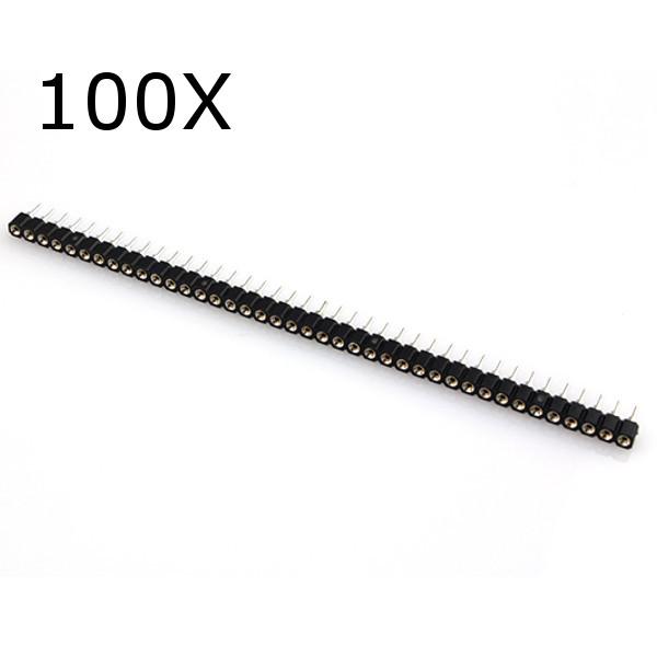 100pcs 40 pin single row 2.54mm round female header pin