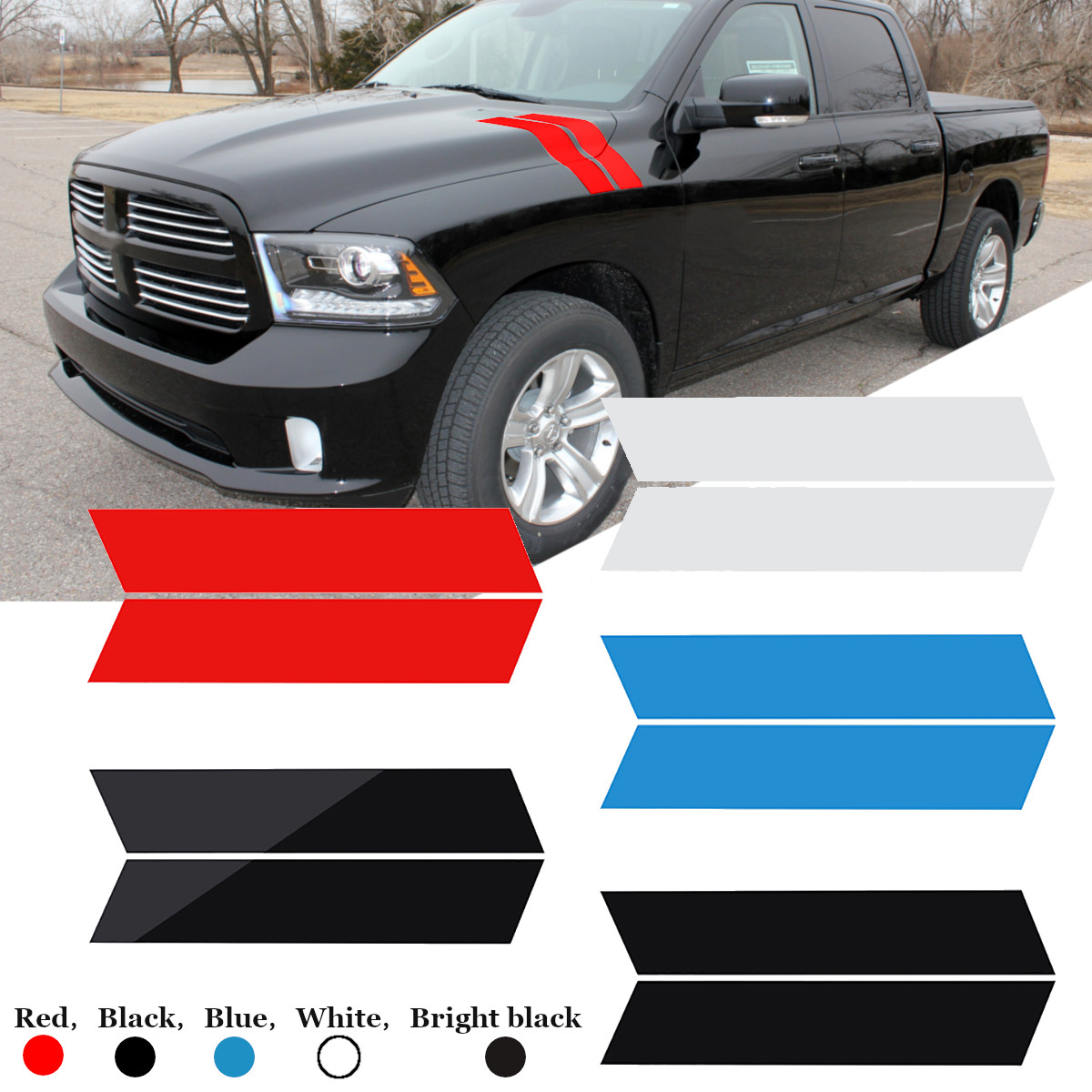 2Pcs Car Vinyl Stripes Truck Racing Stickers Graphic Decal Universal for Dodge Ram