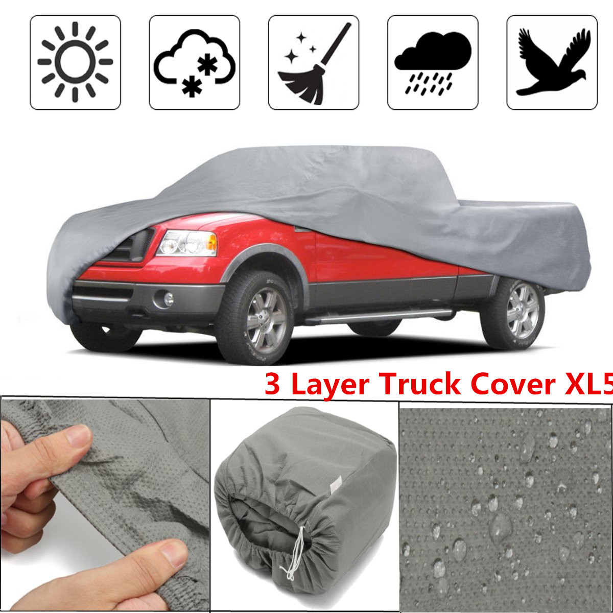 3 Layer Premium Truck Pickups Full Coverage Cover Outdoor Tough Waterproof Lining for CHEVY