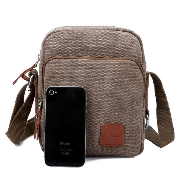 Men Canvas Vintage Vertical Crossbody Bag Casual Outdoor Shoulder Bag Messenger Bag
