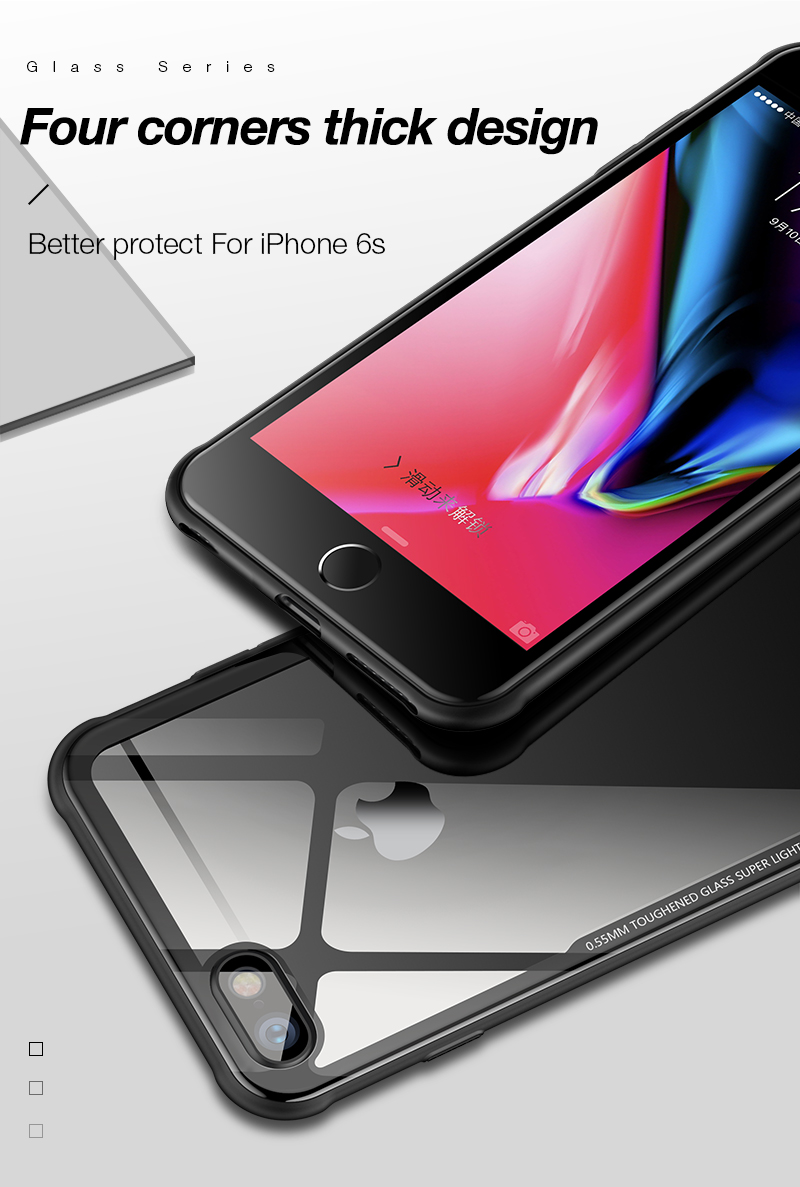 Bakeey™ Tempered Glass Back Cover TPU Frame Protective Case For iPhone 6/6s/6 Plus/6s Plus