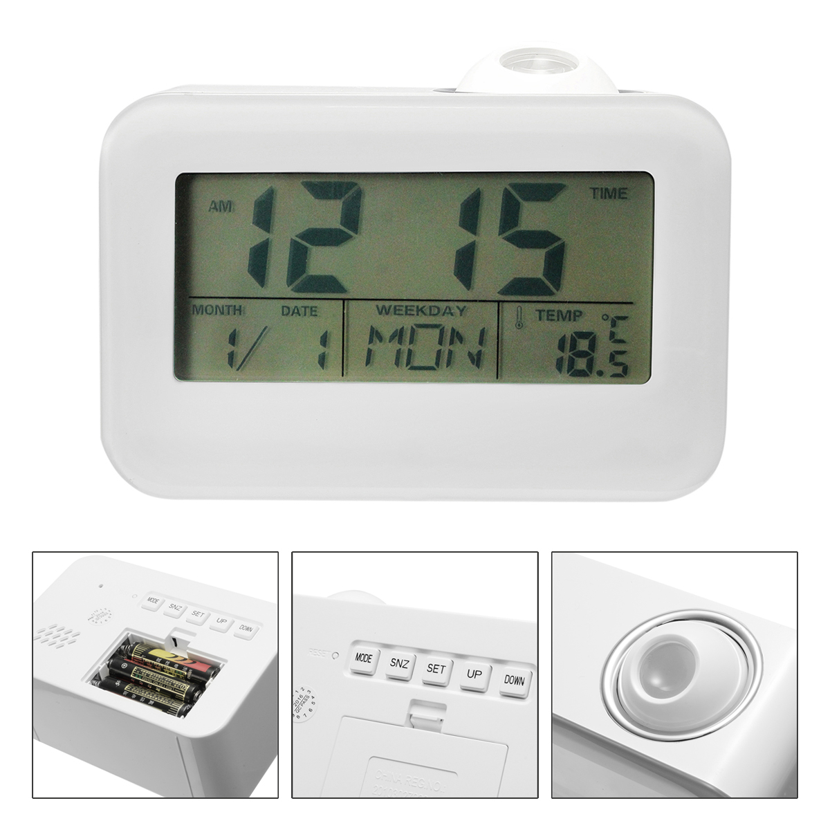 Voice Sound Controlled Projection Talking LED Alarm Clock Snooze Date Projector