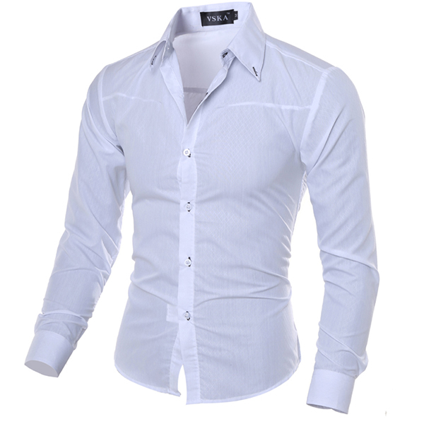 Mens Slim fit Pure Color S-3XL Long-sleeved Gingham Shirts