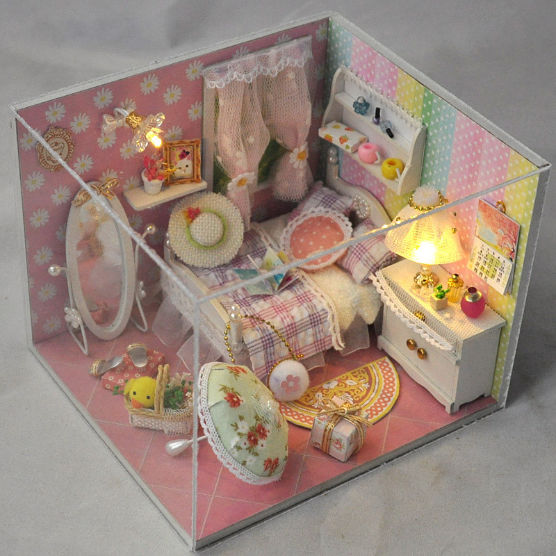 T-Yu TD10 Spring Language House DIY Dollhouse With Light Cover Miniature Model Gift Collection Decor