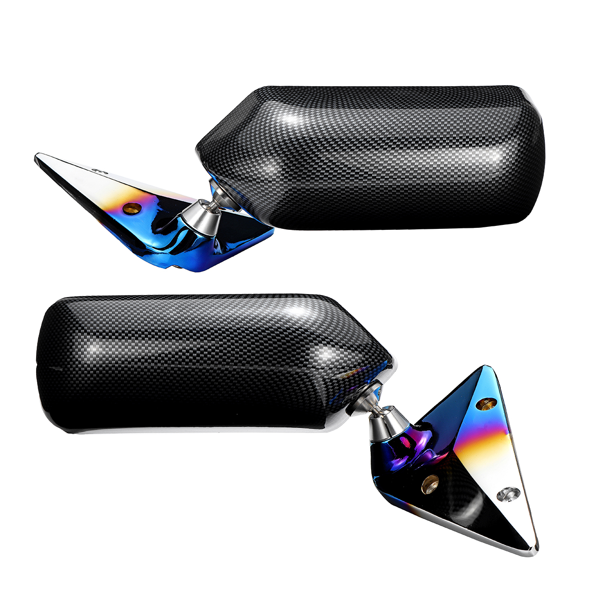 Pair Universal F1 Style Car Side Mirror Carbon Fiber Look Metal Bracket Cover with Blue Mirror Set