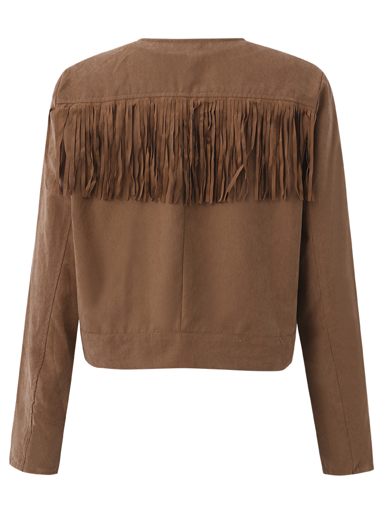Khaki Women Casual Tassels Zipper Pocket Long Sleeve Short Jackets
