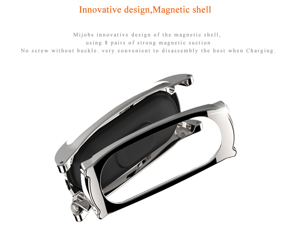 Mijobs Silicone Wrist Strap with Metal Frame Bracelet Replacement Watchband for Xiaomi Miband 2