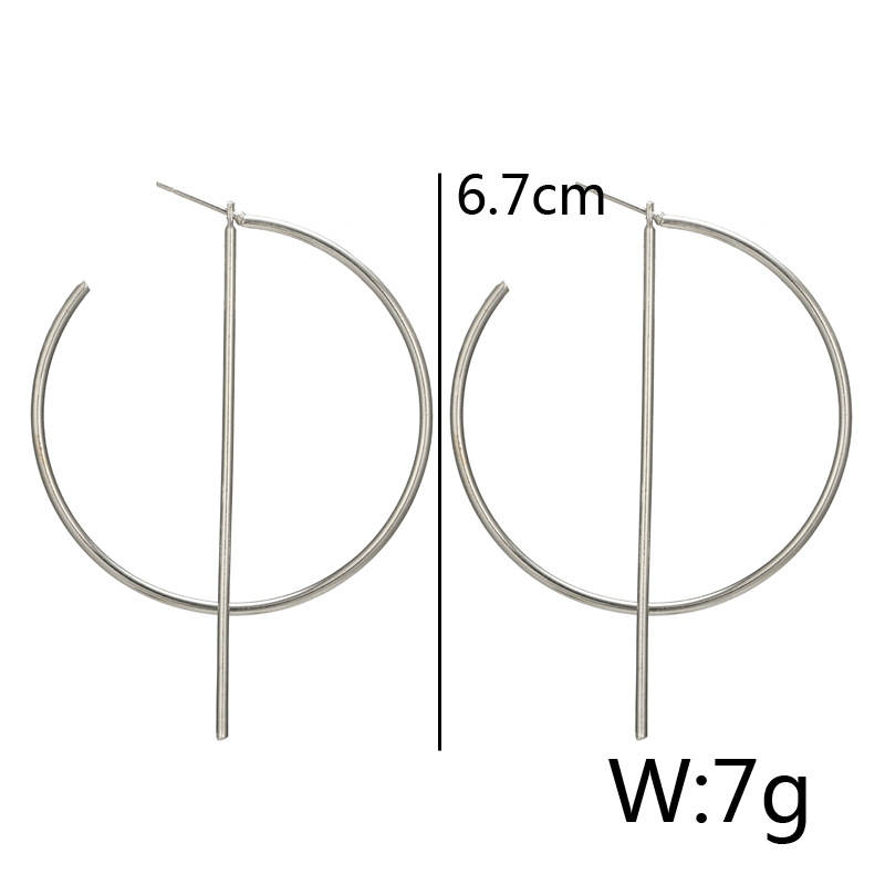 Trendy Hollow Earrings Elegant Round Bar Ear Stud Hoop Ear