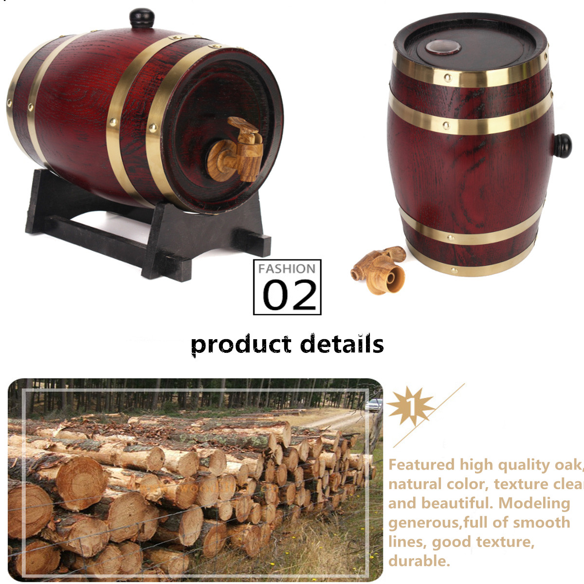 1.5L/3L/5L Wooden Timber Red Wine Oak Barrel Whisky Rum Brewing Keg Container