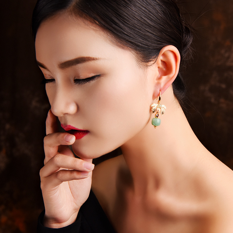 Luxury Gold Leaf Jade Charm Dangle Earring for Women