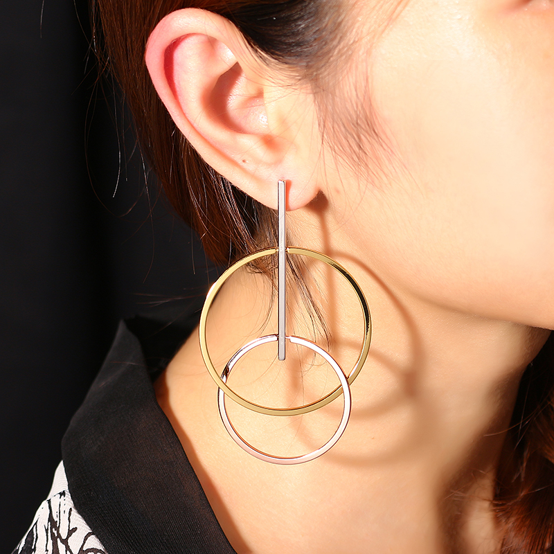 JASSY® Unique Interlock Hoops Platinum Plated Earrings