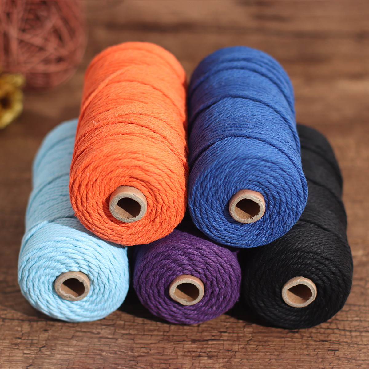 5 Color 3mm 100M DIY Long Macrame Colorful Cotton Twisted Cord Rope Hand Crafts String Braided Wire