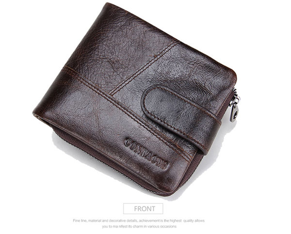Men Brand Wallet Classical Leather Wallet Zipper Short Wallet with Coin Bag