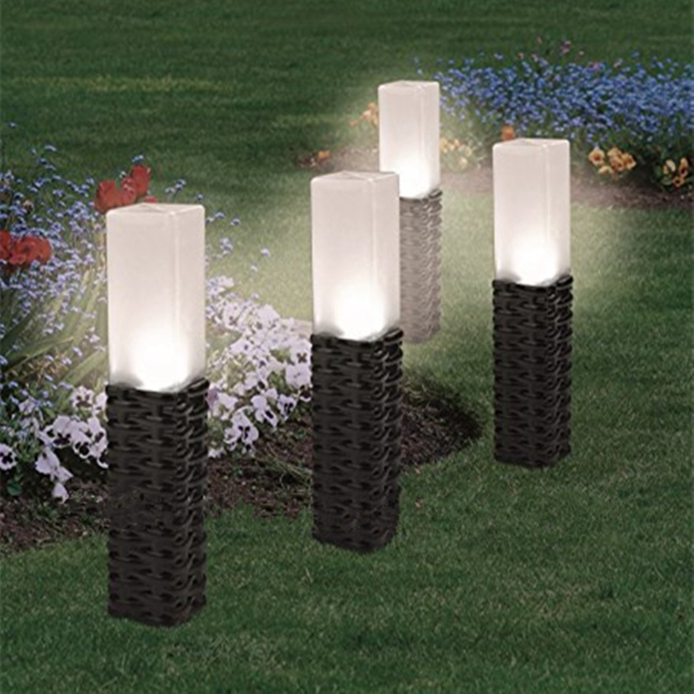 Rattan Style Solar Powered Ground Post Path Stake Light Outdoor Garden Patio Landscape Lamp