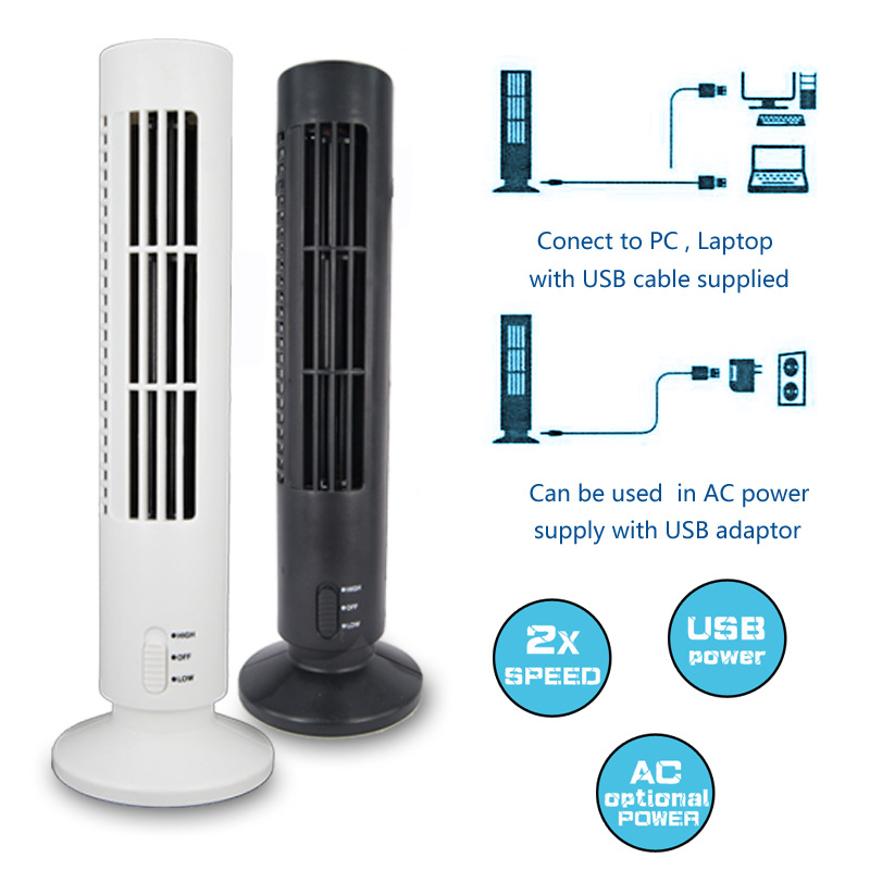 Loskii DX-66 Portable USB Mini Leafless Tower Fan Desk Cooling Fan Computer Office Ventilateur Air Conditioner