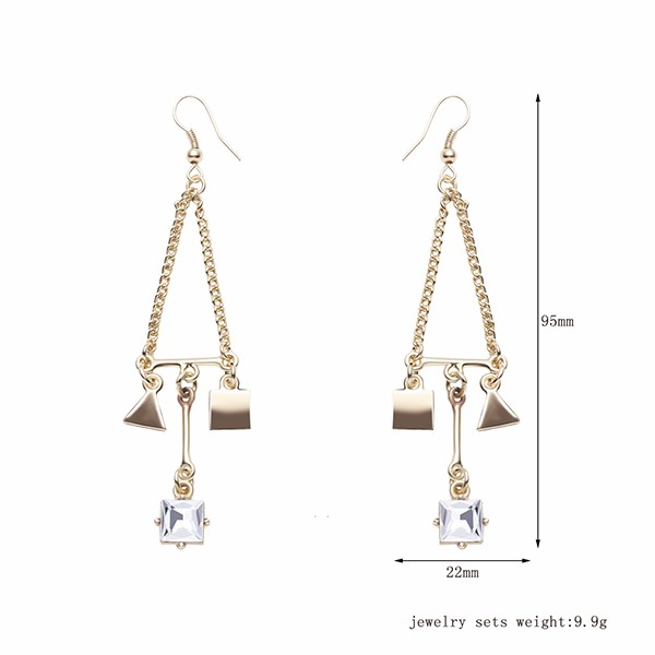 Trendy Balancing Style Gold Square Triangle Dangle Tassel Rhinestone Earrings Gift for Women