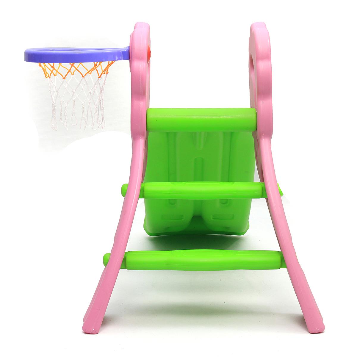 Outdoor Garden Yard Kids Mini Folding Slide With Basketball Basket Indoor Children Toys Slide