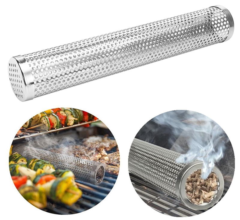 12 Inch BBQ Smoker Tube Stainless Steel Filter Gadget Camping Cooking BBQ Tools Accessories