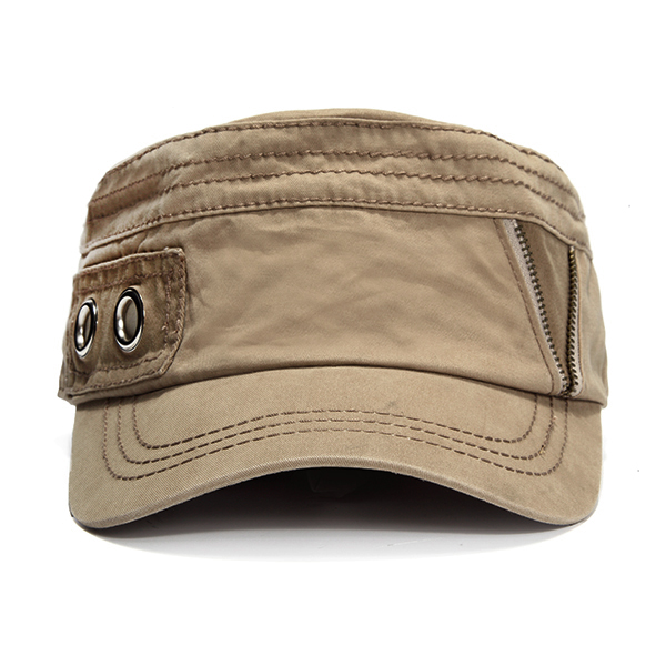 Unisex Zipper Cotton Military Baseball Cap Vintage Army Flat Cadet Hat For Men
