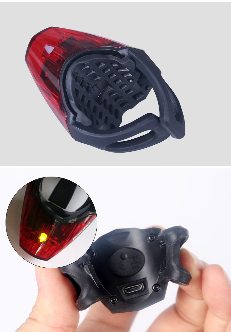Easydo German K-MARK Certificate Breathable Bicycle Taillight 3 Modes Cycling Bike LED Safety Warning Rear Light USB Chargeable Flash Lamp