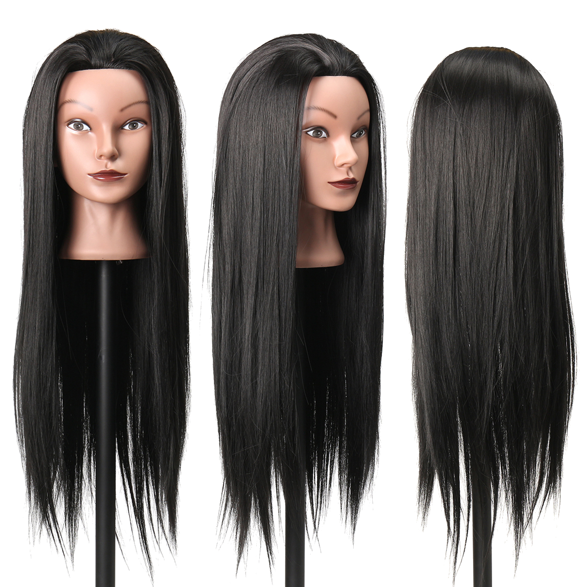 27Inch Black 30% Human Hair Hairdressing Training Head