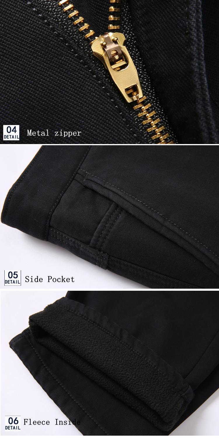 Thick Fleece Casual Dress Pants Warm Solid Color Pants