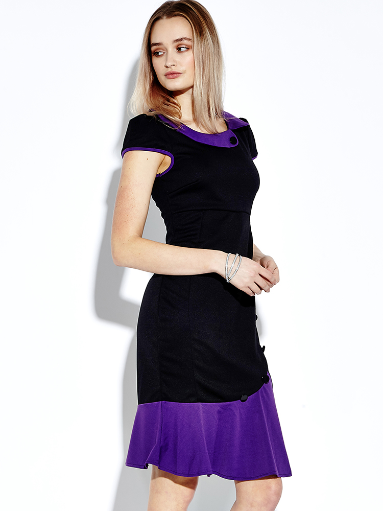 Women Elegant Slim Fishtail Party Dress Short Sleeve