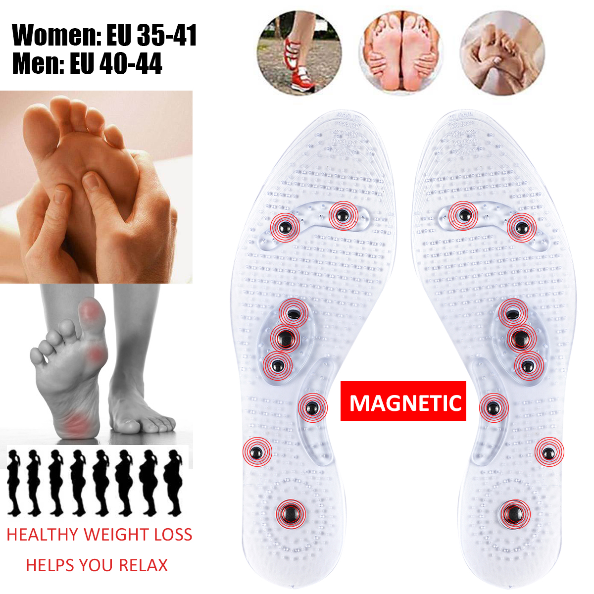 Acupressure Magnetic Massage Foot Therapy Reflexology Pain Relief Shoe Insoles Insole Pads for Women Men