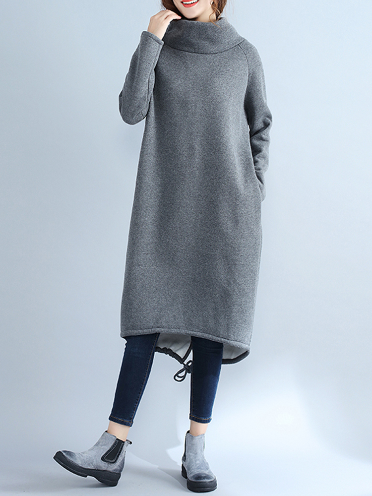 Casual Women Loose Solid Color Long Sleeve Stand Collar Dresses
