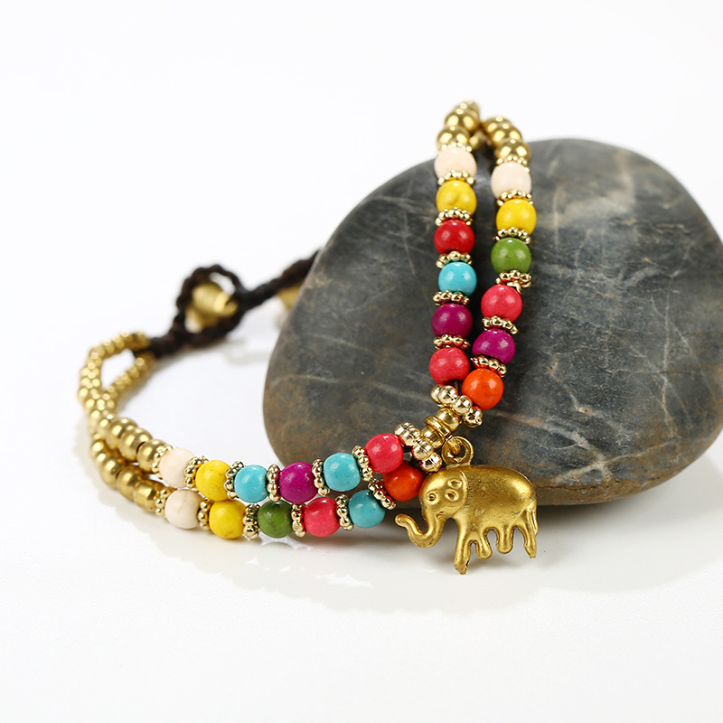 Retro Elephant Pendant Hand-wove Adjustable Women Bracelet
