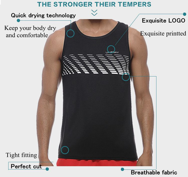 Fashion Printted Running Sports Sleeveless Vest Casual Quick Drying Fitness Tops