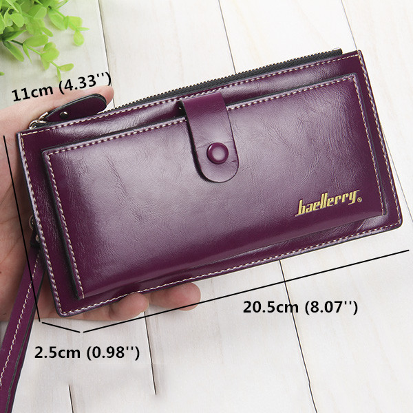 Women Men Ultra Thin Leather Long Wallet Capcity Card Holder Phone Bags Coin Bags