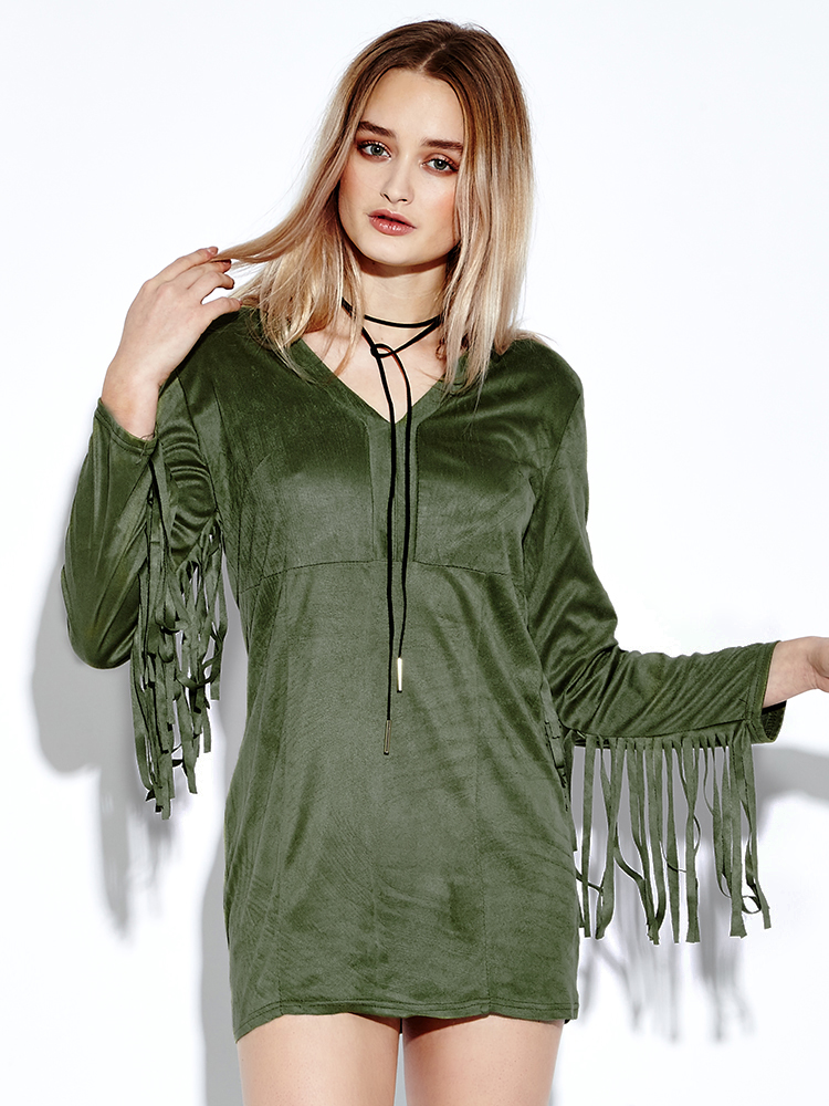 Sexy Suede Tassels V-neck Long Sleeve Women Green Mini Dresses