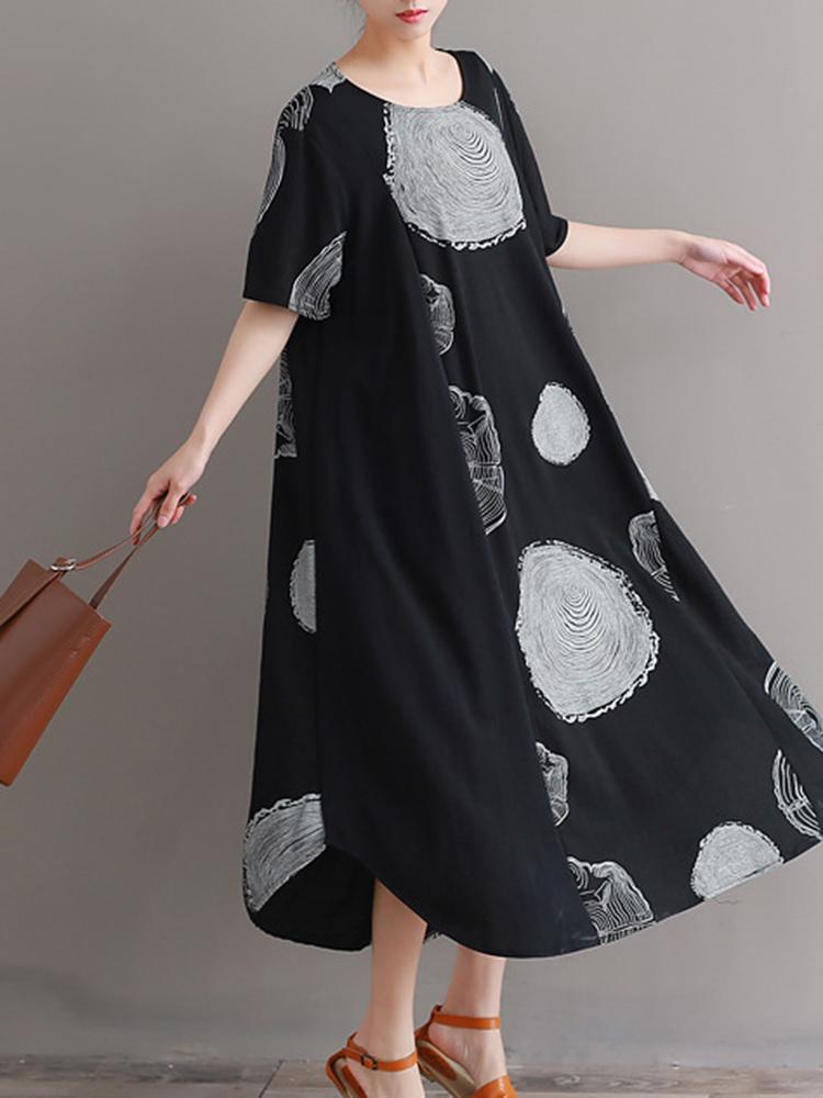Plus Size Cotton Circle Print A-line Maxi Dress