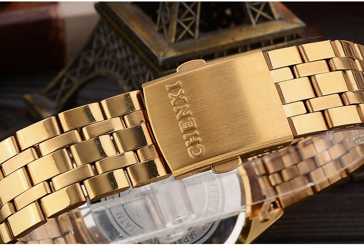 CHENXI 069A Calendar Gold Case Casual Men Wrist Watches