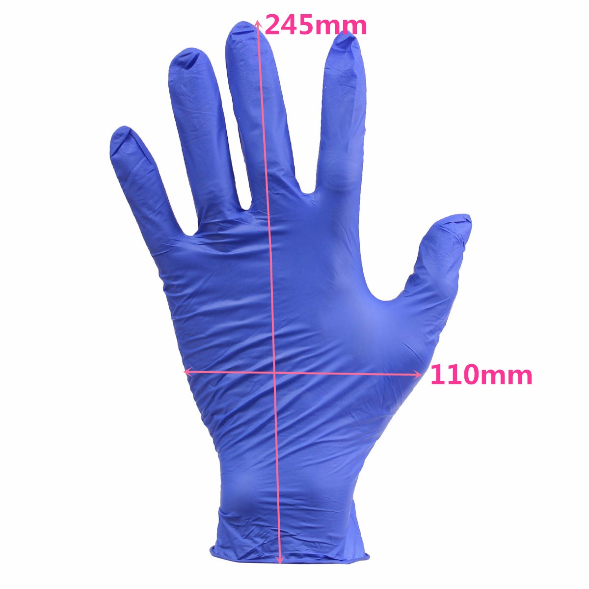 100Pcs Blue Medium Disposable Nitrile Rubber Gloves Food Latex Gloves