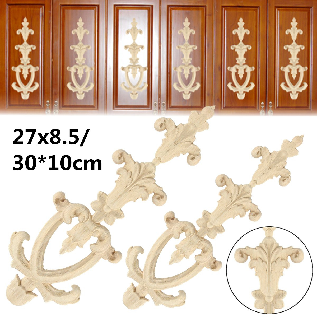 Flower Wood Carved Applique Wood Carving Decal for Wall Door Cabinet Furniture 27x8.5cm 30x10cm