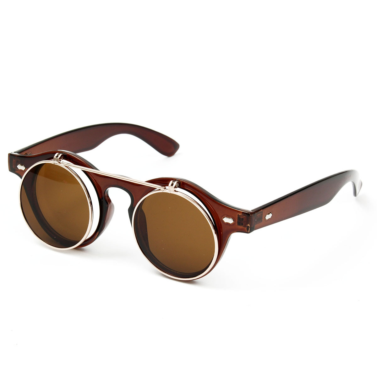 Unisex Men Women Vintage Steampunk Round Lens Sunglasses Cyber Goggles Retro Glasses
